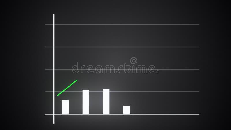 L'istogramma crescente con la freccia in aumento, il grafico preveduto finanziario, 3d rende generato da computer illustrazione vettoriale