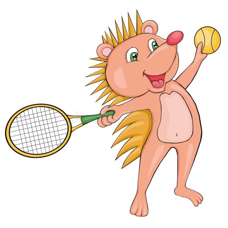 L'istrice biondo gioca a tennis Stile del fumetto Clipart per i bambini illustrazione di stock