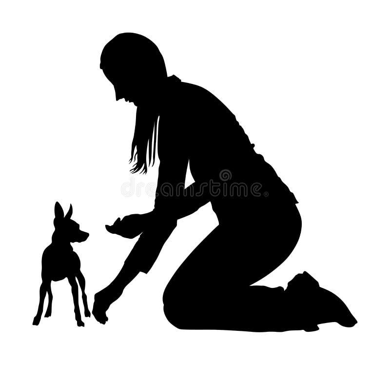 L'istruttore della donna del proprietario tiene il cane miniatura di Pincher Apprettatrice della ragazza con il terrier di Manche illustrazione vettoriale
