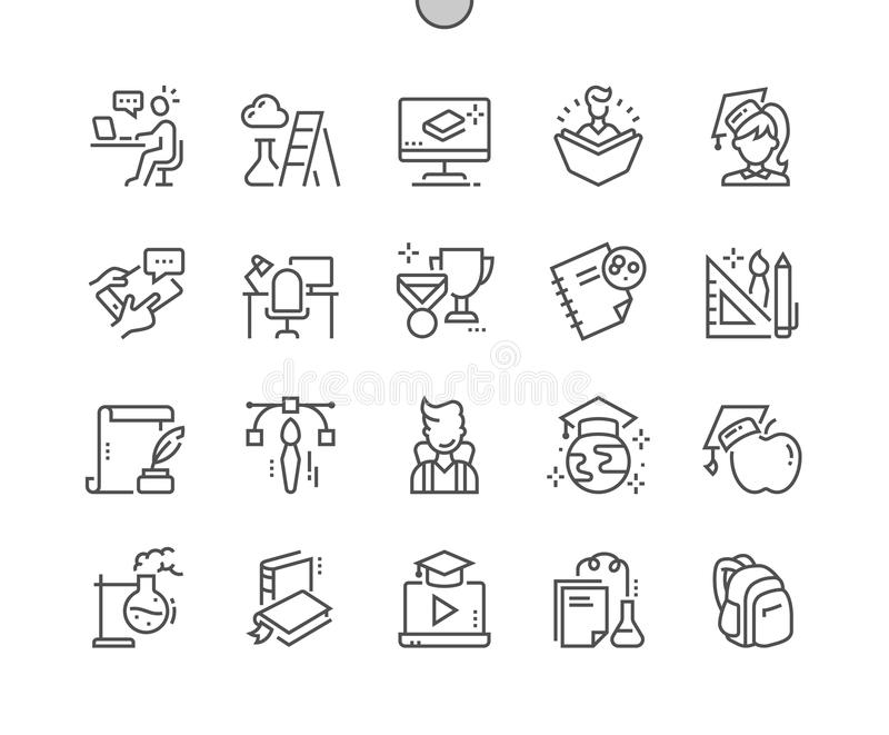 L'istruzione Ben-ha elaborato la linea sottile griglia 2x delle icone 30 di vettore perfetto del pixel per i grafici e Apps di we illustrazione di stock