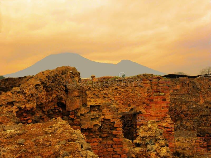 L'Italia, città di visita di Napoli, Mt Vesuvio immagine stock