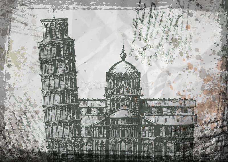 L'Italia Illustrazione di vettore di schizzo della torre di Pisa illustrazione vettoriale