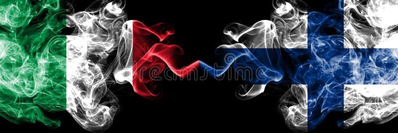 L'Italia, italiano, Finlandia, finlandese, bandiere fumose variopinte spesse della concorrenza di vibrazione Giochi europei di qu royalty illustrazione gratis