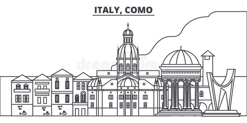 L'Italia, linea illustrazione di Como di vettore dell'orizzonte L'Italia, paesaggio urbano lineare con i punti di riferimento fam royalty illustrazione gratis