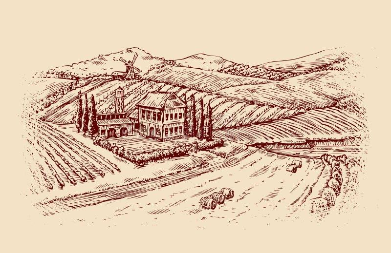 L'Italia Paesaggio italiano Vigna d'annata di schizzo disegnato a mano, azienda agricola Illustrazione di vettore royalty illustrazione gratis
