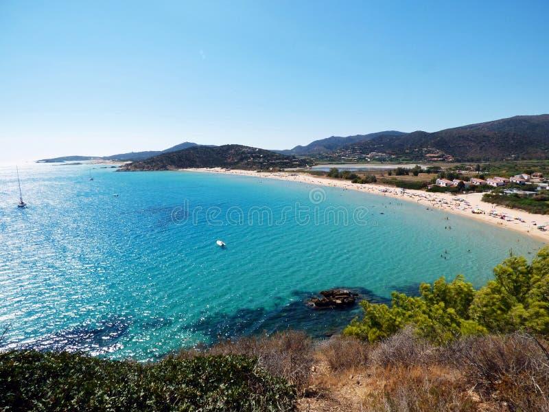 L'Italia, Sardegna, Cagliari, spiaggia Unione Sovietica Portu, Chia fotografie stock libere da diritti