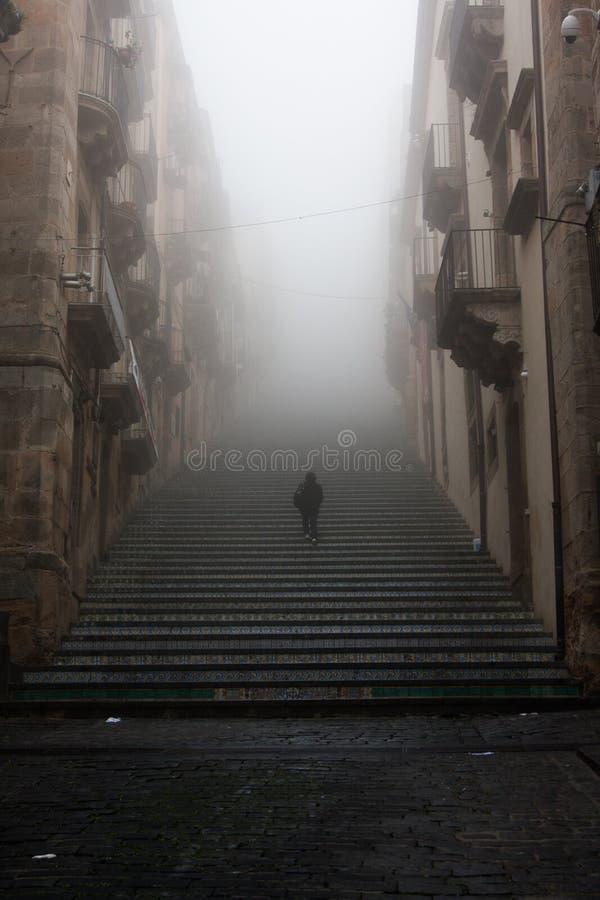 L'Italia Sicilia Caltagirone - il punto di riferimento principale della città è i 142 Di monumentali Santa Maria del Monte di Sca fotografie stock libere da diritti