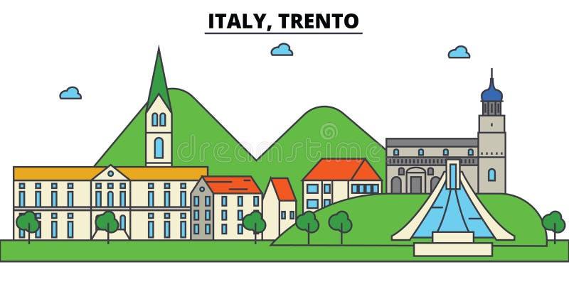 L'Italia, Trento Architettura dell'orizzonte della città editable royalty illustrazione gratis
