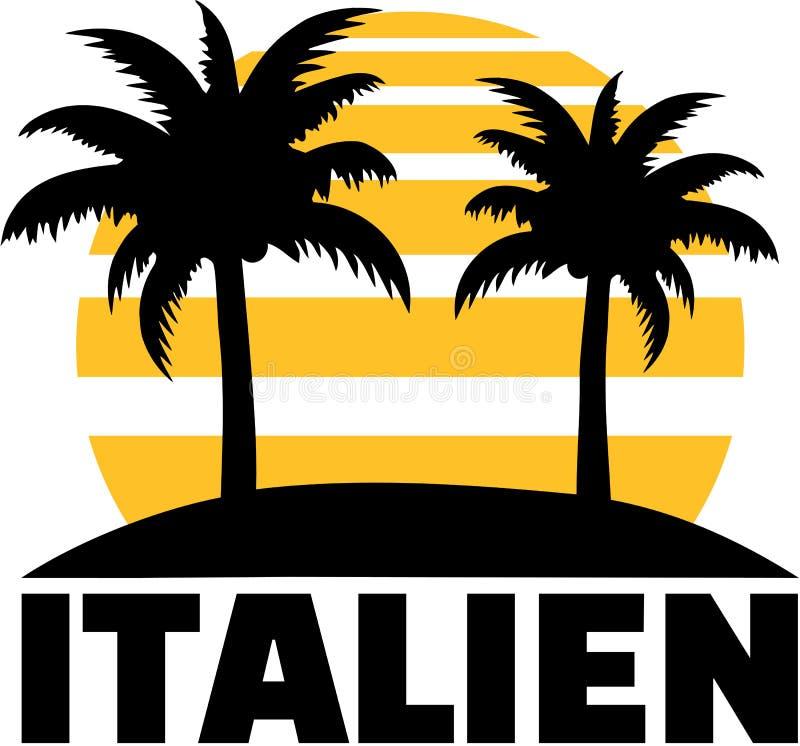 L'Italie avec la paume et le soleil allemand illustration de vecteur