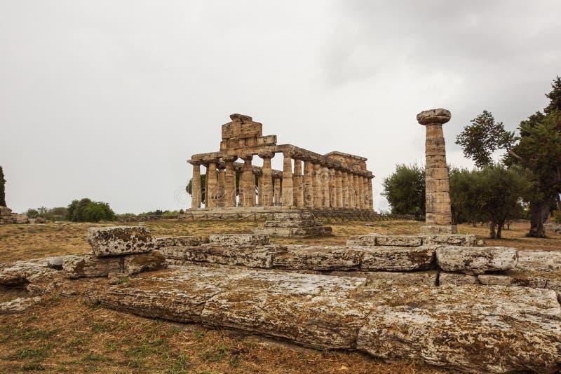 L'Italie, Cilento, site archéologique de Paestum, le temple d'Athéna également connu sous le nom de temple de Cerere photographie stock libre de droits