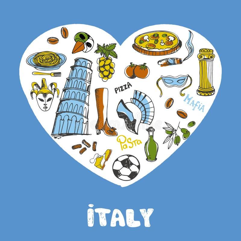 L'Italie a coloré la collection de vecteur de griffonnages illustration de vecteur