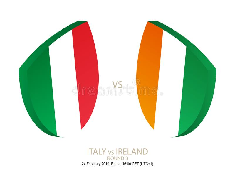 L'Italie contre l'Irlande, rugby 2019 six championnats de nations, rond 3 illustration de vecteur