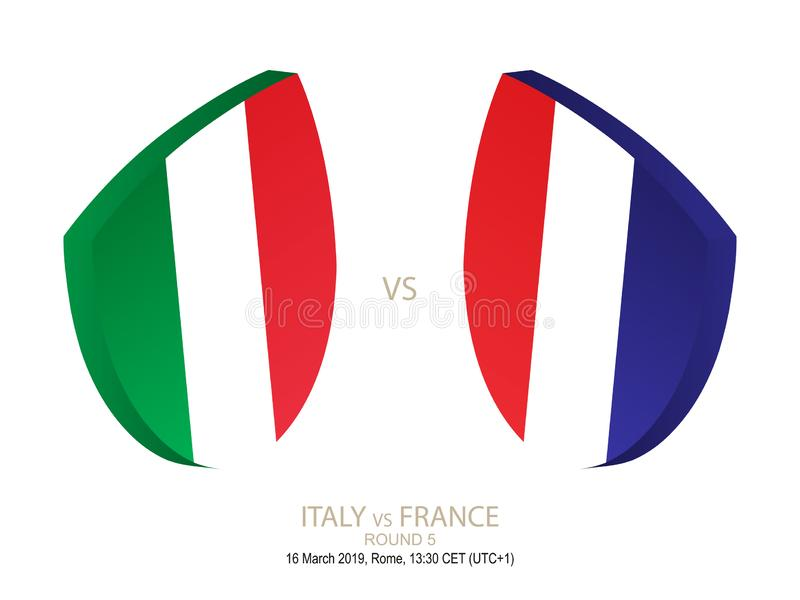 L'Italie contre la France, rugby 2019 six championnats de nations, rond 5 illustration de vecteur