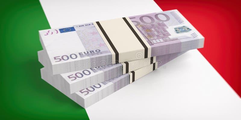 L'Italie, crise d'économie Euro billets de banque sur le drapeau de l'Italie illustration 3D illustration libre de droits