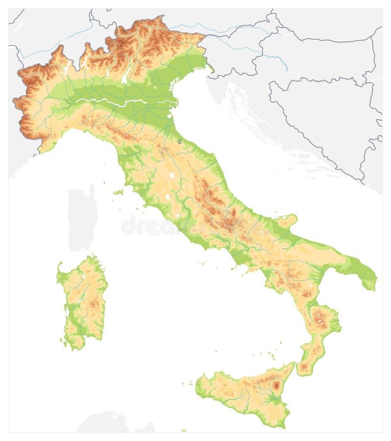 L'Italie a détaillé la carte physique sur le blanc - aucun texte illustration stock