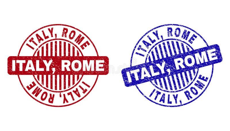 L'ITALIE grunge, ROME a rayé les joints ronds de timbre illustration libre de droits