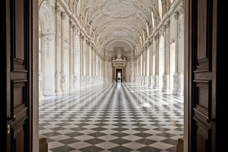 l'Italie - le Royal Palace : Galleria di Diana, Venaria image stock
