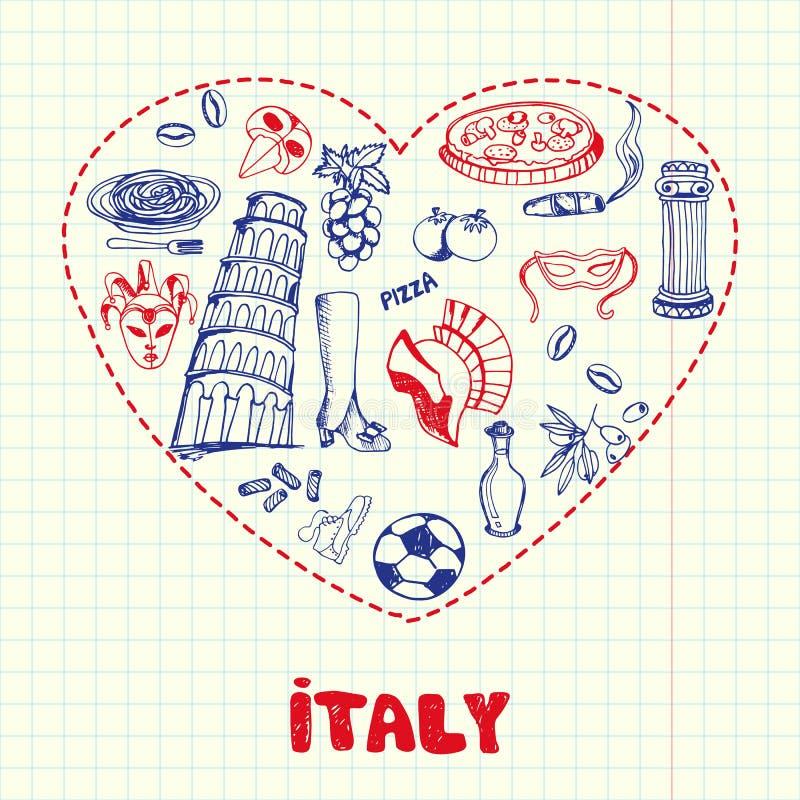 L'Italie Pen Drawn Doodles Vector Collection illustration de vecteur