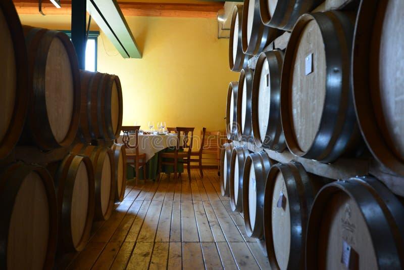 L'Italie, Piémont, Langhe, touristes de vin au ` de Cascina Monfalletto de ` images stock