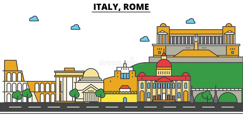 L'Italie, Rome Architecture d'horizon de ville Courses Editable illustration libre de droits