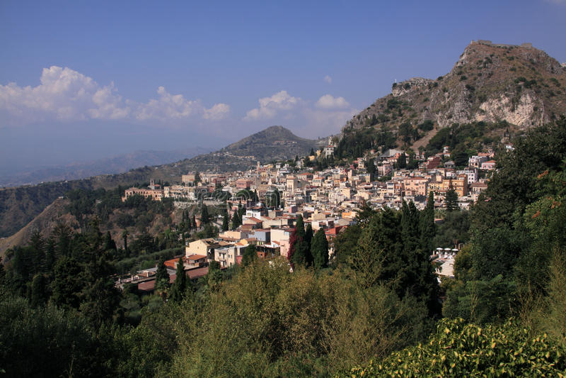 L Italie Sicile Taormina De Théâtre Image stock