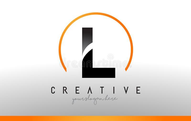 L letra Logo Design com cor alaranjada preta Ícone moderno fresco T ilustração stock