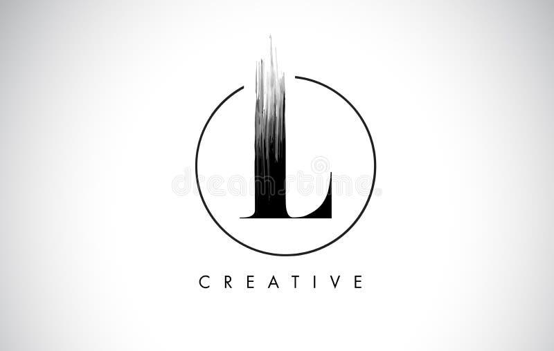 L letra Logo Design do curso da escova Pintura preta Logo Leters Icon ilustração stock