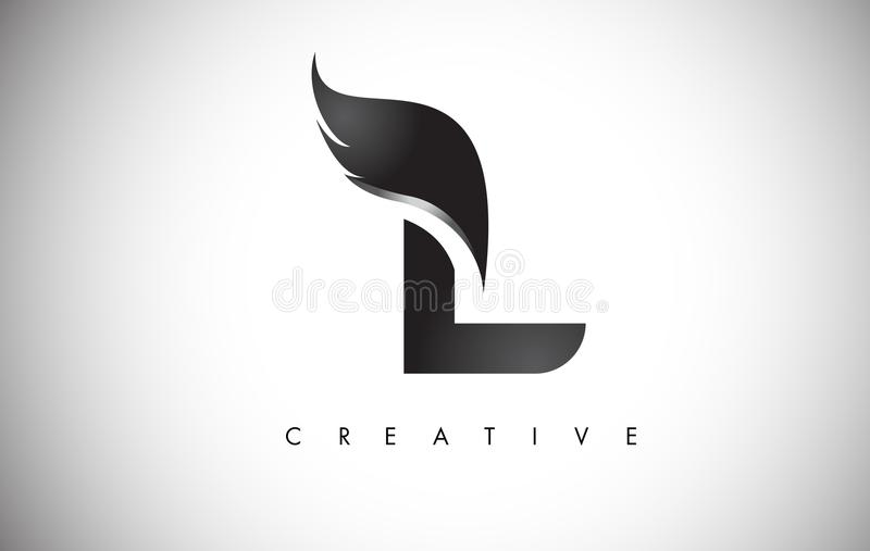 L Letter Wings Logo Design with Black Bird Fly Wing Icon. vector illustration