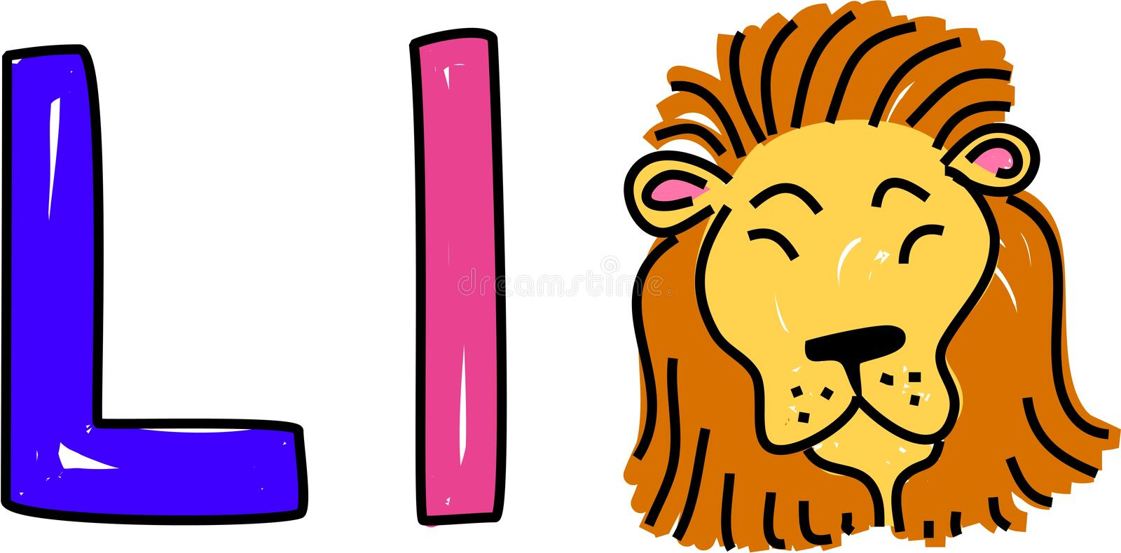 L is for lion stock illustration