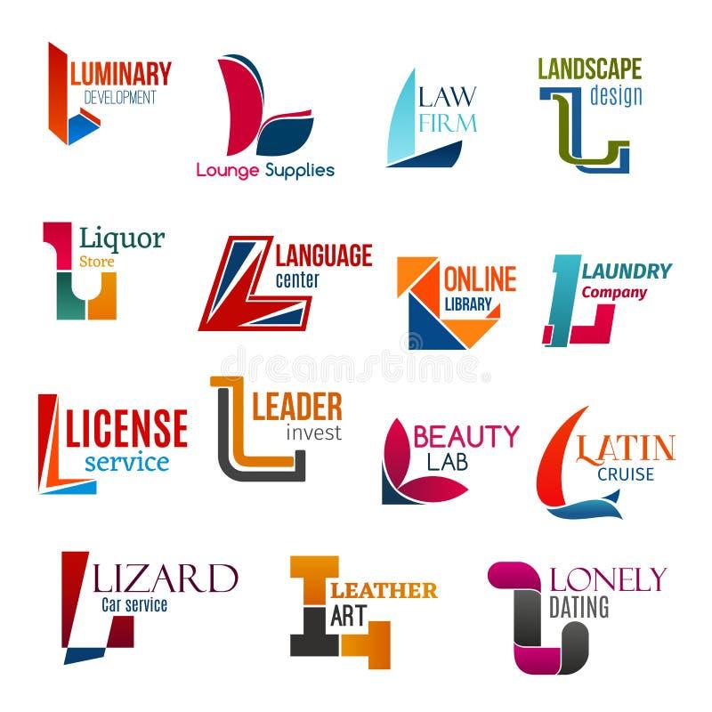 L listowa korporacyjna tożsamość, biznesowe ikony ilustracji