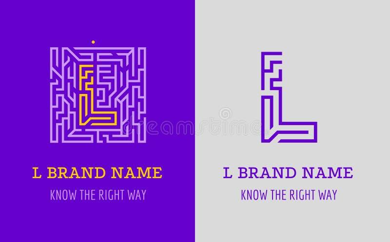 L listu logo labirynt Kreatywnie logo dla korporacyjnej tożsamości firma: listowy L Logo symbolizuje labitynt, wybór prawa ścieżk ilustracja wektor