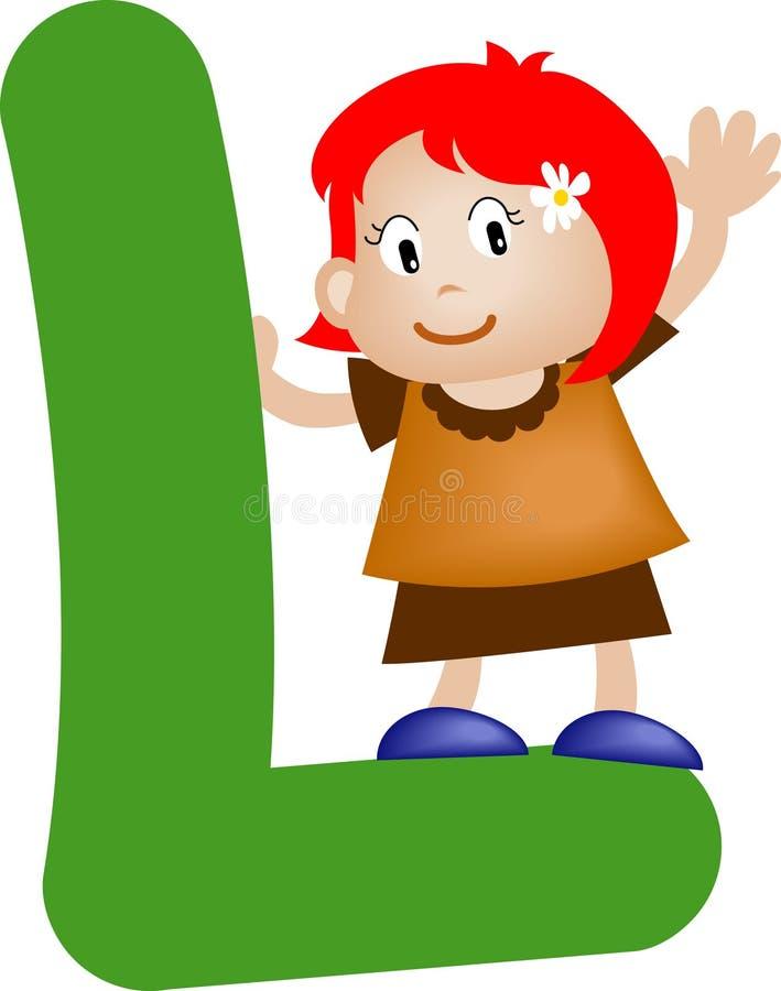l litera alfabetu dziewczyna royalty ilustracja