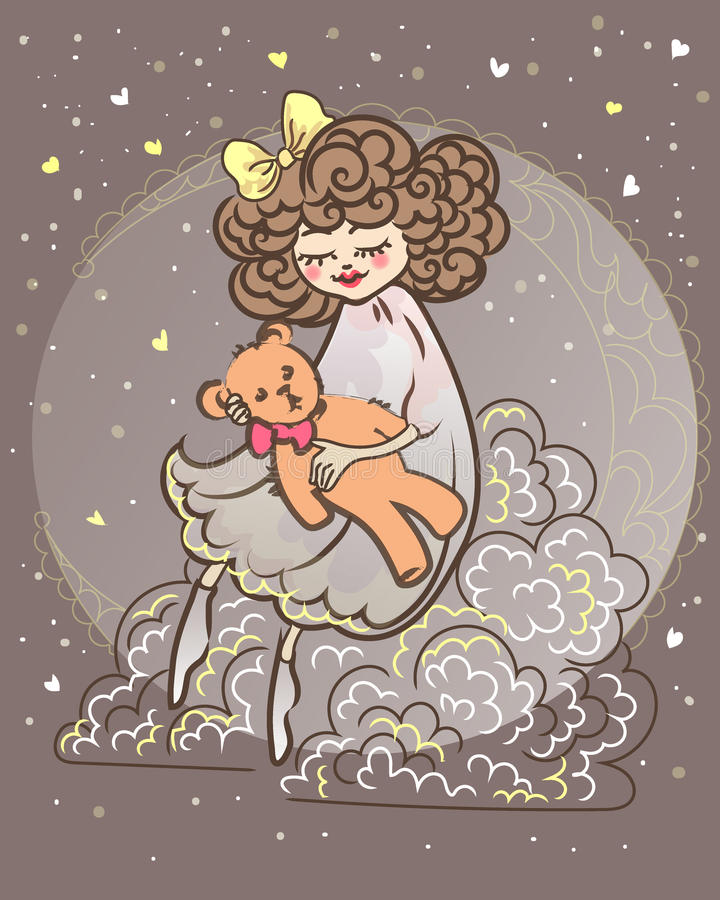 L little sleepy girl sitting on a cloud and moon vector illustration