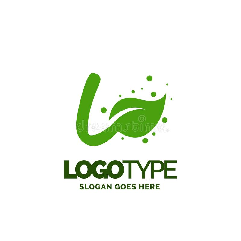 L logo with Leaf Element. Nature Leaf logo designs, Simple leaf. Logo symbol. Natural, eco food. Organic food badges in vector. Vector logos. Natural logos with royalty free illustration