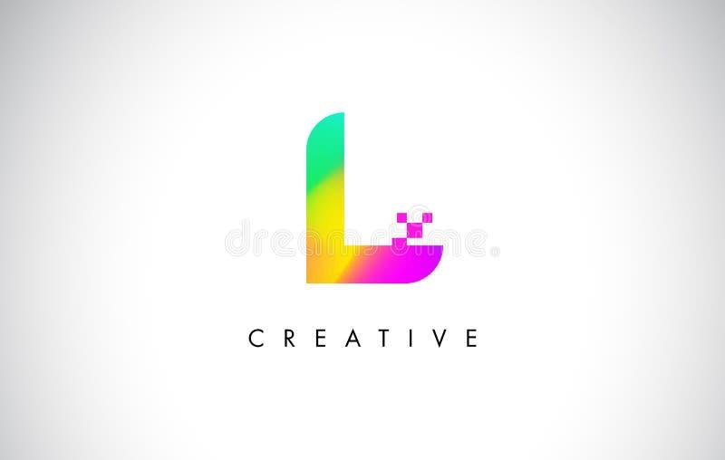 L Logo Letter Design Vetora colorido Inclinação criativo do arco-íris ilustração royalty free