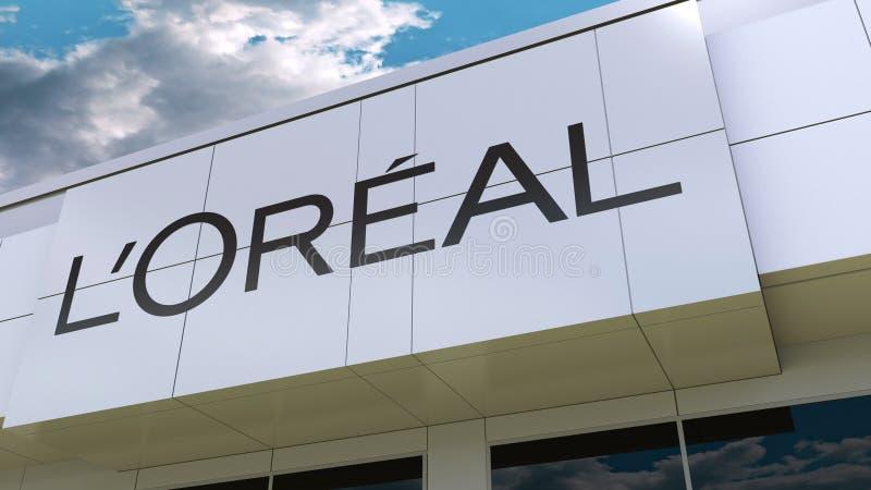 L logotipo de Oreal do ` na fachada moderna da construção Rendição 3D editorial ilustração stock