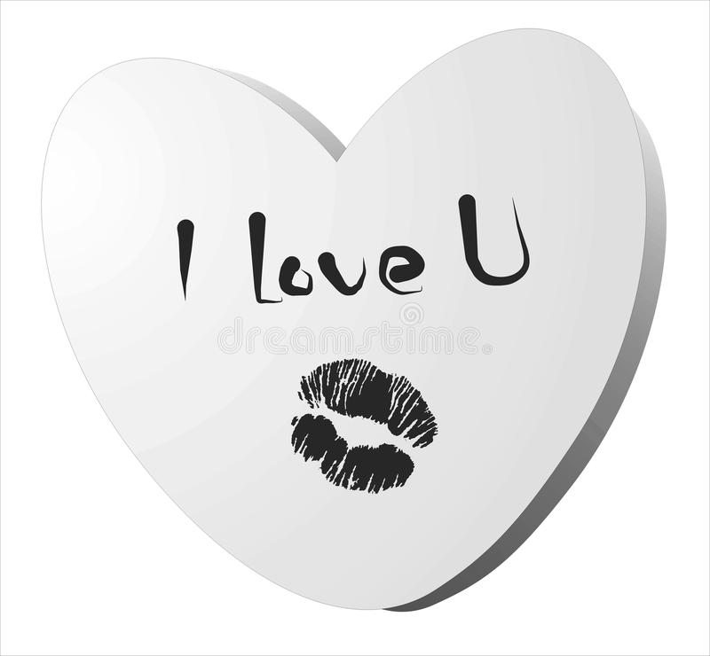 Download I love you note with kiss stock photo. Image of desire - 30150836