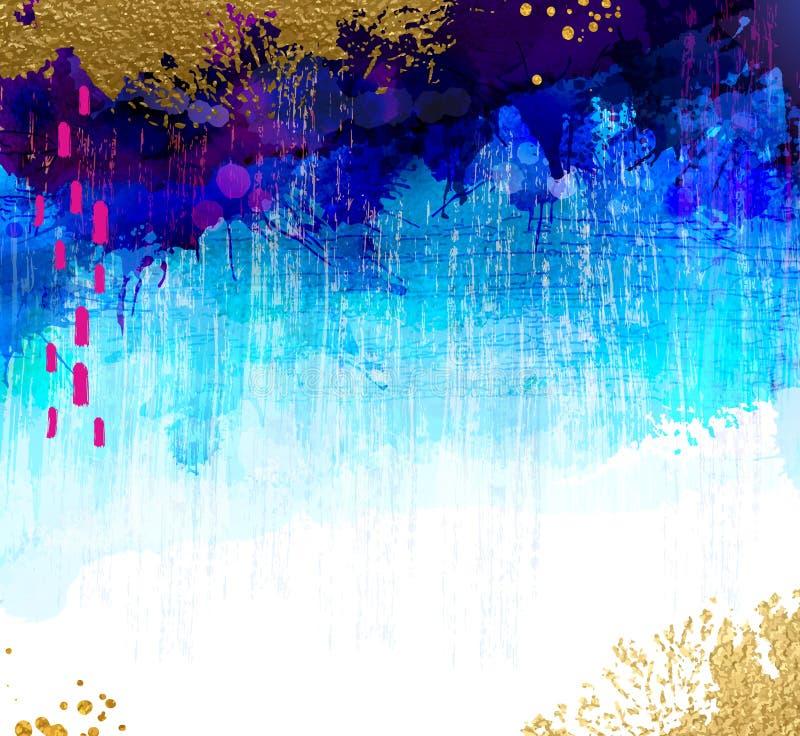 L'or lumineux de contraste et l'aquarelle bleue souille sur le fond grunge Composition abstraite en vecteur pour le créatif illustration libre de droits
