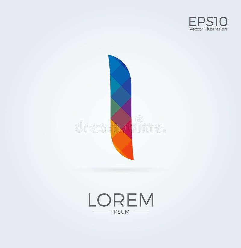 L märker den Logo Icon Mosaic Pattern Design mallbeståndsdelen i mindre fall stock illustrationer