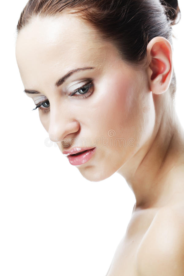 L młoda kobieta z czystą skórą fotografia stock