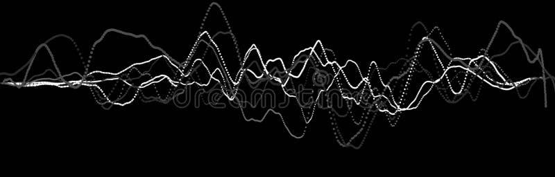 ?l?ment d'onde sonore Égaliseur numérique de noir de résumé Grande visualisation de donn?es ?coulement l?ger dynamique rendu 3d illustration libre de droits