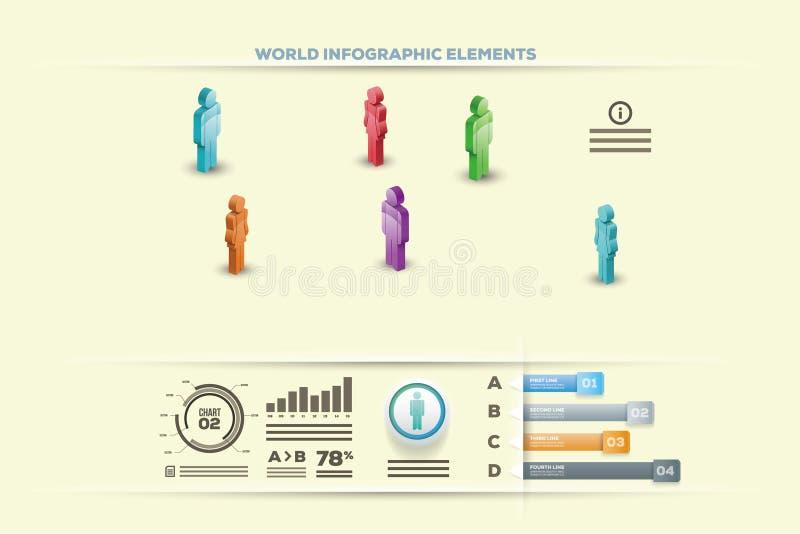 ?l?ments d'Infographic - barre et ligne diagrammes, infographics de personnes, diagrammes, ?tapes/options, indicateurs de progr?s illustration libre de droits