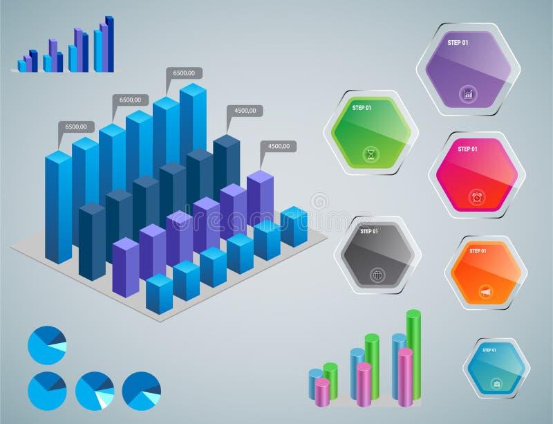 ?l?ments d'Infographic - barre et ligne diagrammes, infographics de personnes, diagrammes, ?tapes/options, indicateurs de progr?s illustration de vecteur