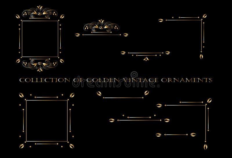 ?l?ments d'or d'ornement sur un fond noir pour la conception des cartes de salutation et d'invitation illustration libre de droits