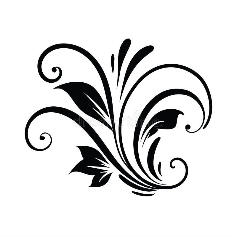 ?l?ments de conception de fleur de vintage Formes boucl?es noires de branches d'isolement sur le fond blanc Illustration de vecte illustration libre de droits