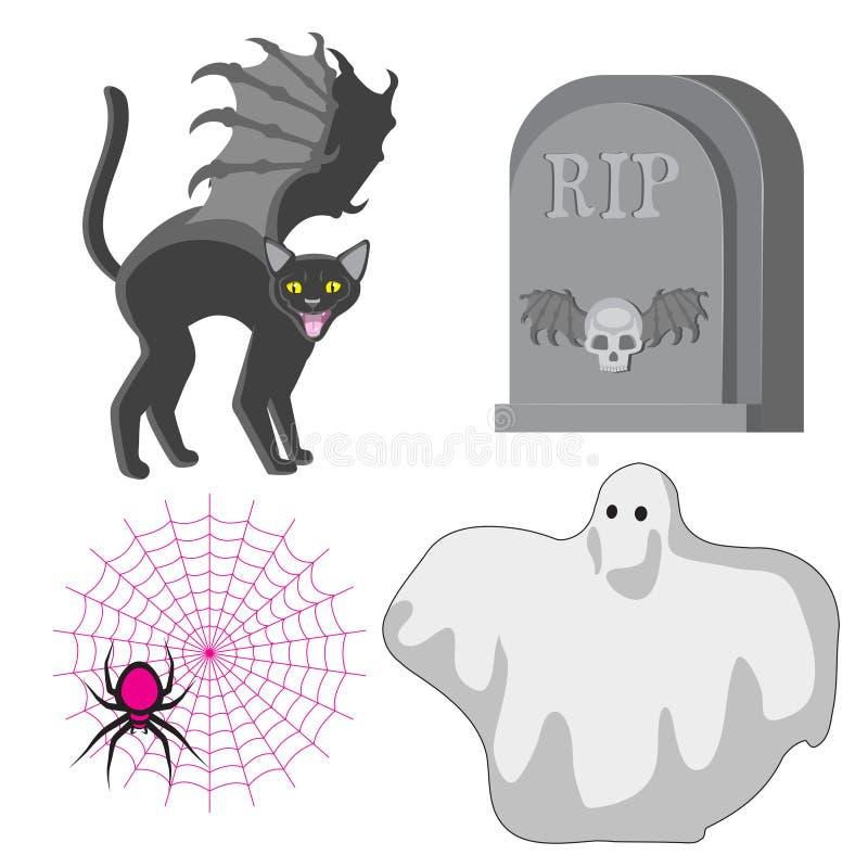 ?l?ments heureux de conception de Halloween Chat avec la toile d'araignée de Ghost de pierre tombale d'ailes Image d'icônes d'icô illustration de vecteur