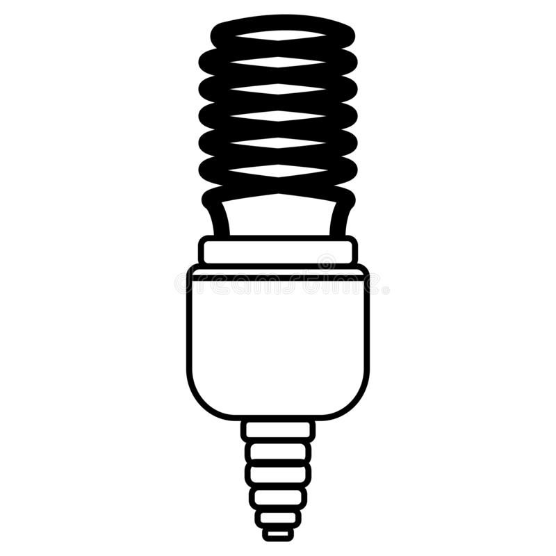 L?mpada da economia de energia Ilustração do vetor do estilo do esboço ilustração do vetor