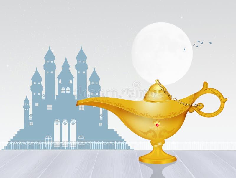L?mpada m?gica dourada ilustração royalty free