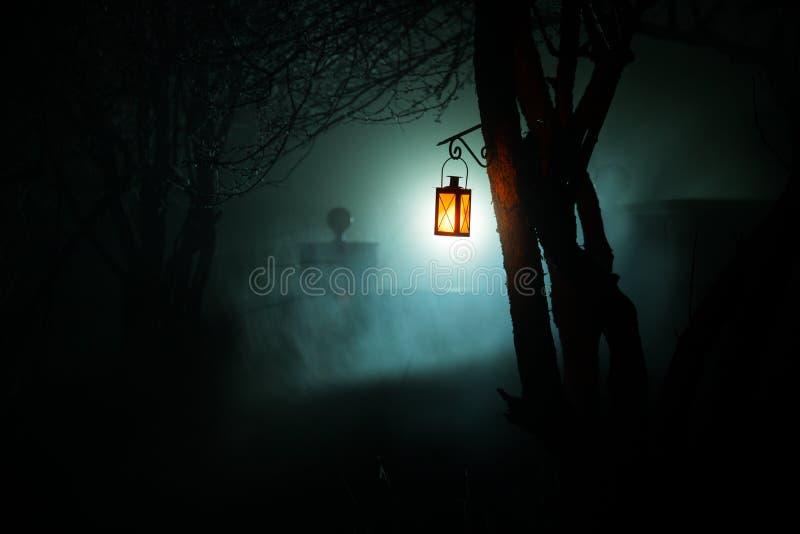 L?mpara iluminada colorida hermosa en el jard?n en noche brumosa Linterna retra del estilo en la noche al aire libre imagenes de archivo