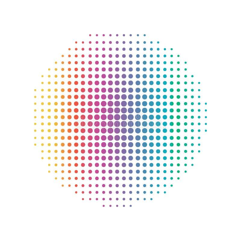 L?nea circular del punto del arco iris Concepto abstracto y colorido Vector del ejemplo del tono medio ilustración del vector